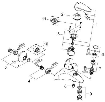 grohe 33390001 eurodisc mitigeur monocommande 1 2 bain douche. Black Bedroom Furniture Sets. Home Design Ideas