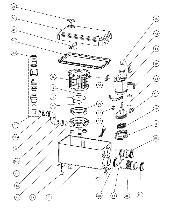 03 sfa mpd2 moteur pompe complet sanidouche - Vue eclatee moteur ...