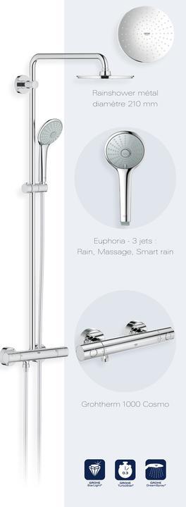 grohe 27964000 euphoria system 210 colonne de douche avec mitigeur. Black Bedroom Furniture Sets. Home Design Ideas