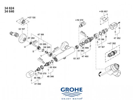 Grohe 47092000 poign e d 39 arr t grohtherm 1000 47 092 - Fonctionnement robinet thermostatique douche ...