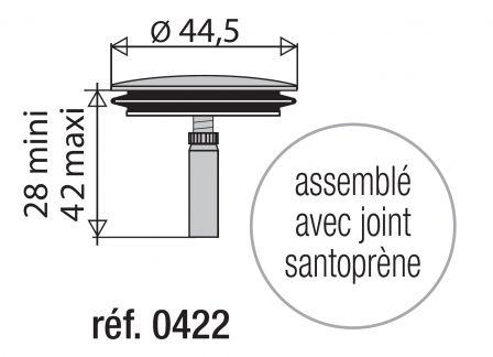 Valentin 0422000 Clapet Inox Diametre 45mm Pour Vidage De Baignoire