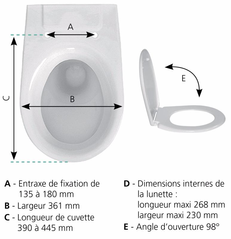 SIAMP 49 3051 16 Abattant WC Beaulieu Blanc-Dimensions