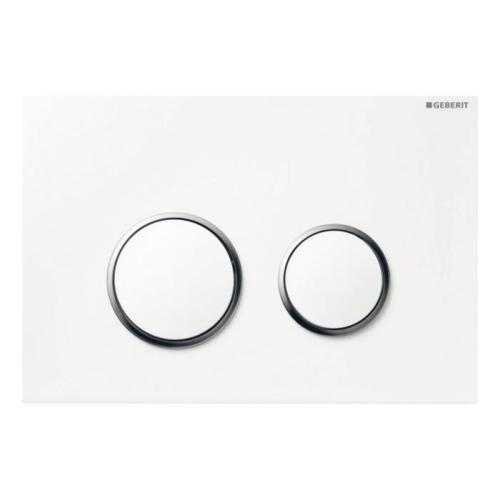 GEBERIT 115.882.KJ.1 Plaque déclenchement double touche SIGMA 20 Blanc/Chromé Brillant/Blanc.