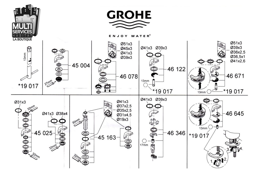 GROHE 46346000 Jeu de montage pour Mitigeur Grohe. 46 346 000