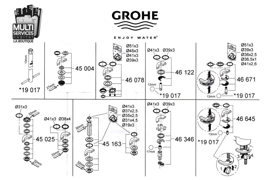 Grohe 45004000 jeu de montage pour robinetterie grohe 45 for Pieces detachees robinetterie grohe