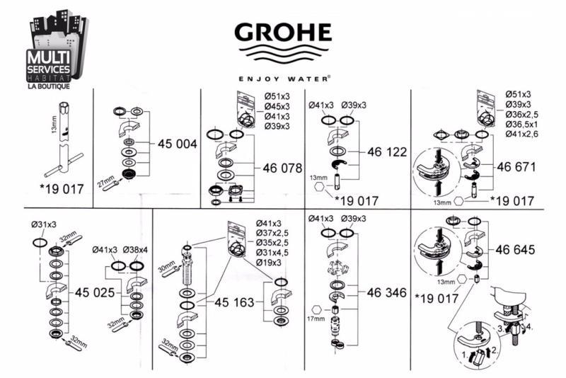 GROHE 46645000 Jeu de montage pour Robinetterie Grohe.