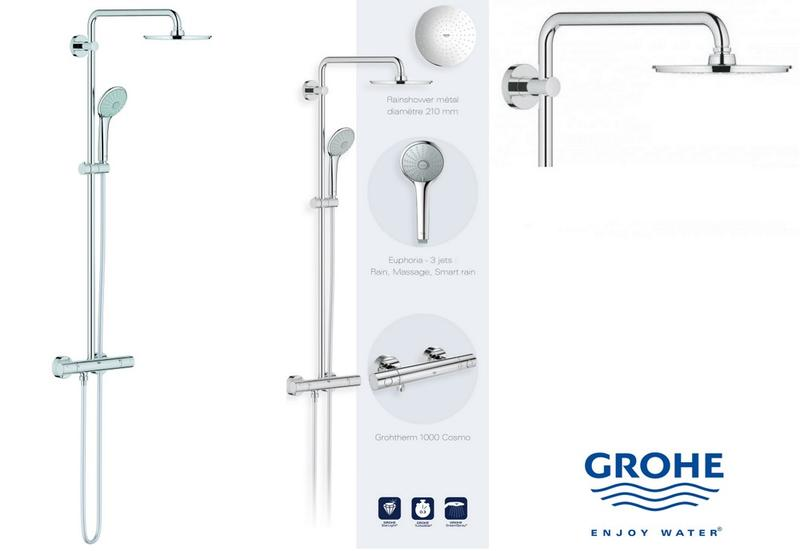 grohe 27964000 euphoria system 210 colonne de douche avec mitigeur. Black Bedroom Furniture Sets. Home Design Ideas